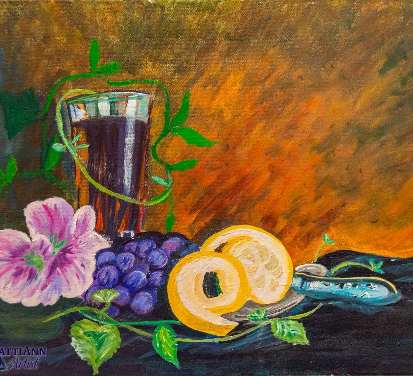 Still Life Grapes & Wine