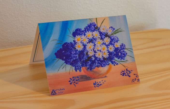 Daisies in Blue Note Card