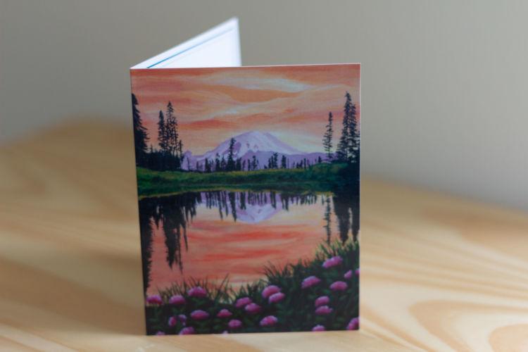 Mount Rainier Sunset Reflection Note Card