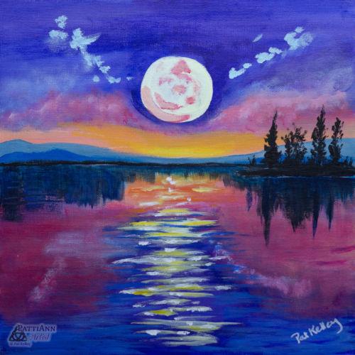 Moonlit Evening Over Lake